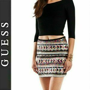 GUESS Sequin Mini Skirt Side Zip Lined Small